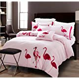 parure de lit flamants roses 220 x 240 cm. Black Bedroom Furniture Sets. Home Design Ideas