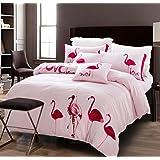 parure de lit flamants roses 220 x 240 cm. Black Bedroom Furniture Sets. Home Design Ideas