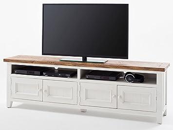 Tv lowboard weiß holz  TV-Lowboard weiß Holz Byron Landhausstil Shabby: Amazon.de: Elektronik