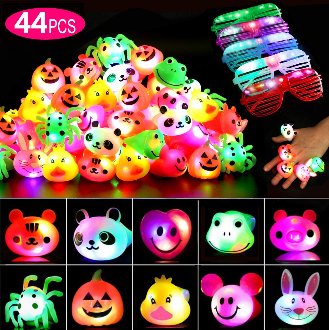 44 Pcs Halloween Party Favors for Kids/Adults, Prizes Flashing LED Light Up Jelly Rings Birthday Gifts Glow in The Dark Party Supplies Rings Glasses for Boys/Girls - 11 Color 11 Shape by MAO MAO JEWELRY