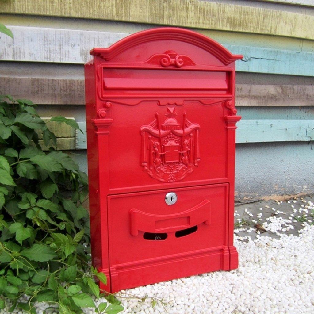 CKH ヨーロッパのヴィラ郵便受けレトロメールボックスウォールロッククリエイティブガーデン屋外ウォールマウント雨水メールボックス ( Color : Red ) B07CQXVWGG 13221 Red Red