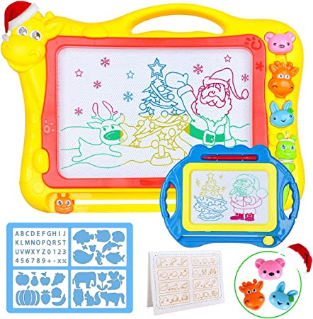 Meland Magnetic Drawing Board for Kids - Large 17Inch Toddler Colorful Magna Doodle Pad with a Travel Size Etch Sketch Writing Board Pro with Magnet Pen, Education Learning Toys & Gifts for Boys Girls