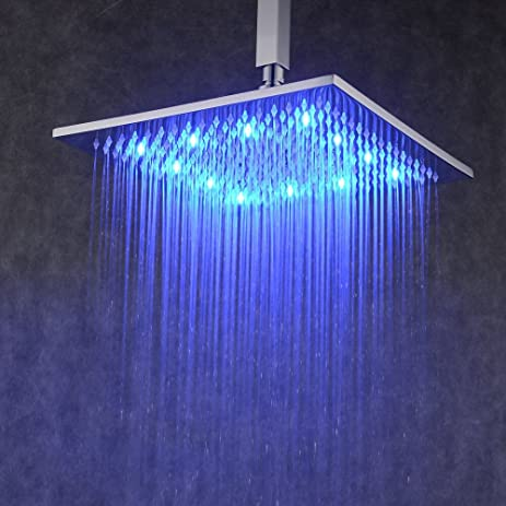 rectangular rain shower head. Hiendure Contemporary LED Rectangular 12 Inch Waterfall Rain Shower Solid  Brass Head with Faint