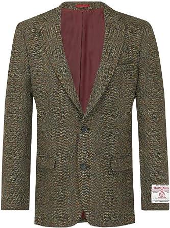 Harris Tweed Mens Green Herringbone Tweed Waistcoat Regular Fit 5 Button