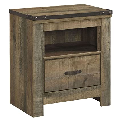 ashley furniture signature design trinell warm rustic nightstand casual master bedroom end table - Bedroom End Tables