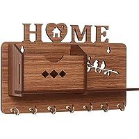 Webelkart Home Side Shelf-Brown Wall Shelves Wooden Shelf, Keyholder (with 7 Keys Hooks)