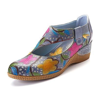 gracosy Leather Pumps, Women's Wedge Shoes Mary Jane Platform Shoes Dress Pumps Comfortable Slip On Shoes | Pumps
