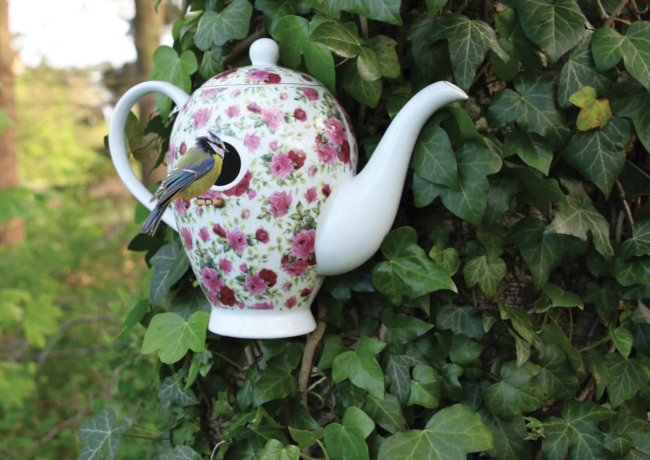 Coffee Pot Bird House Chintz Floral Design Fallen Fruits