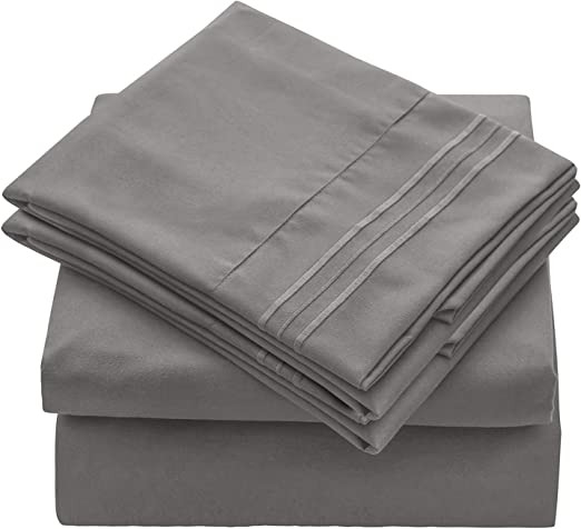 Breathable 4 Pieces Bed Sets Deep Pocket Sheet Set Full, White Wrinkle Fade Resistant Hypoallergenic VEEYOO Bed Sheet Set Full Size Brushed Microfiber 1800 Bedding Sheet Sets