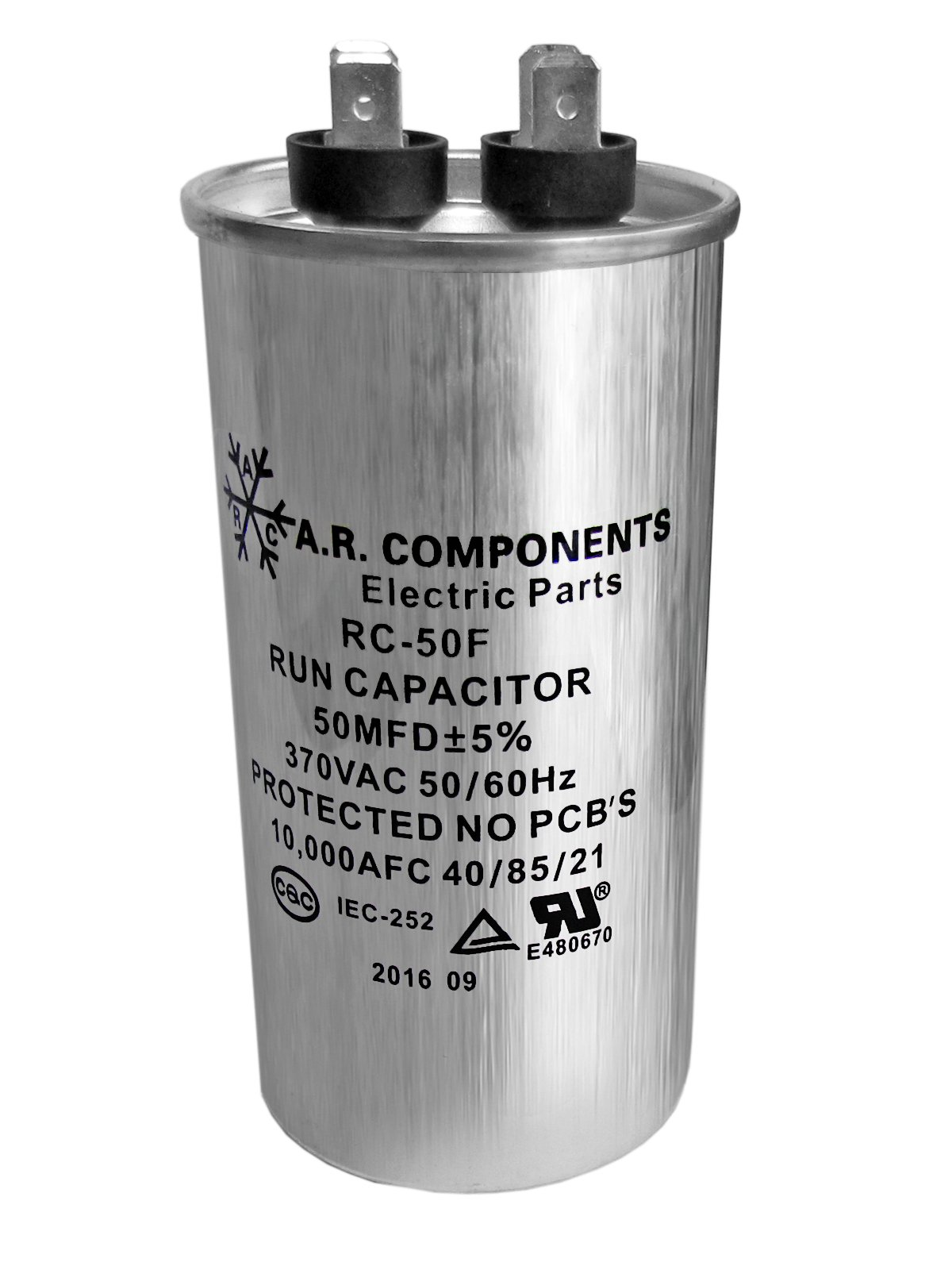 RUN CAPACITOR 50 MFD 370 VAC ROUND CAN. UL Certified. Pack of (1)