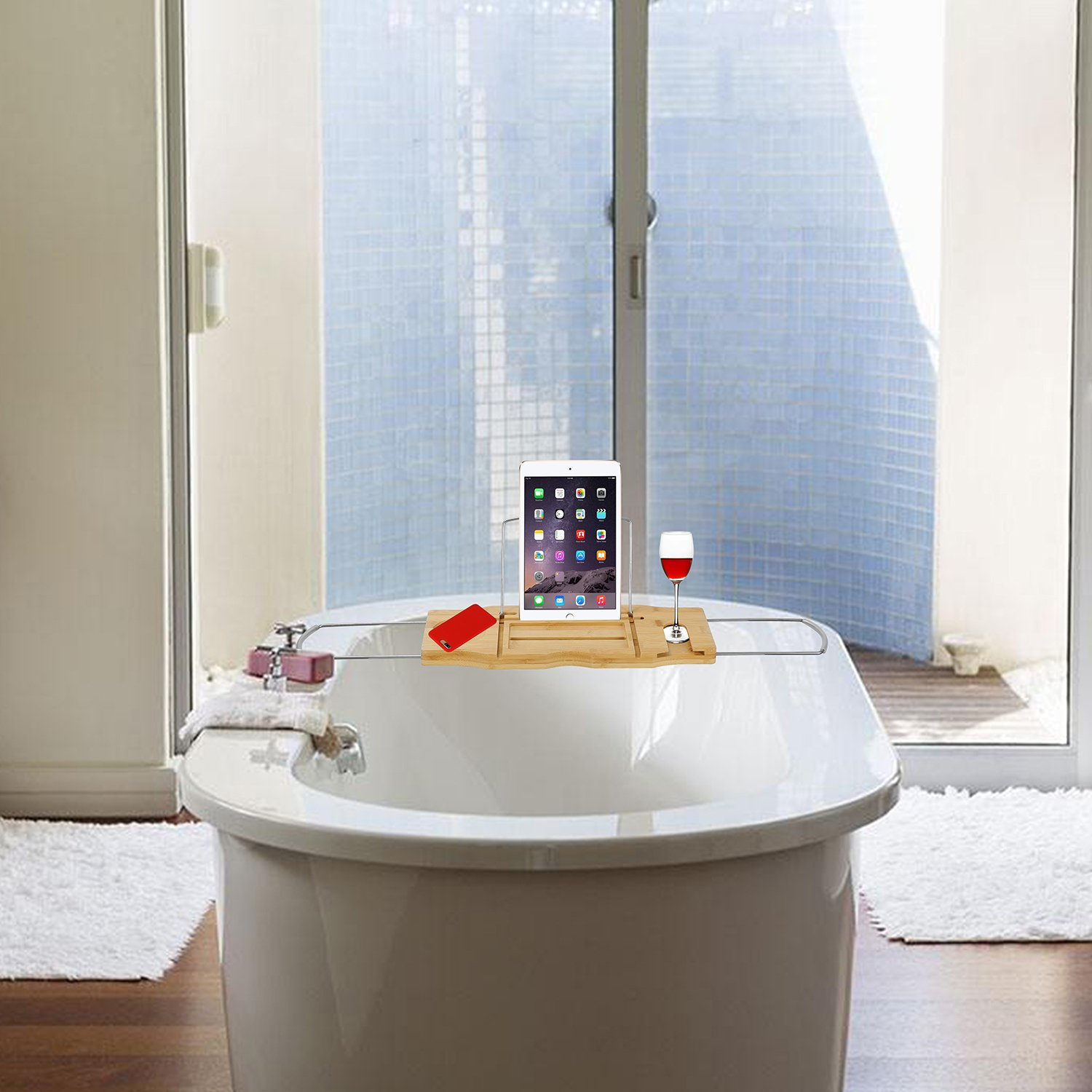 Amazon.com: Utoplike Extendable Bamboo Bathtub Caddy Tray Bathtub ...