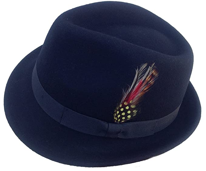 dcfeadeaf1873 Image Unavailable. Image not available for. Color  Tear Drop Crown Fedora - Black  Wool Felt ...