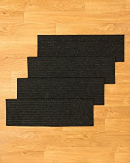 NaturalAreaRugs Halton Polyester Carpet Stair Treads, Handmade, Rubber  Backing, Durable, Stain Resistant