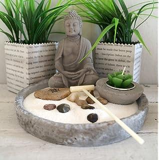 Zen Garten mit Buddha + Teelichthalter 6tlg 25 cm: Amazon.de: Küche ...