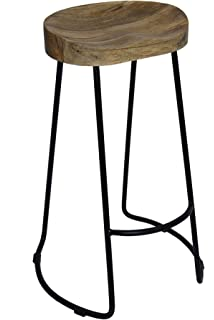 the urban port antique colonial classy wooden barstool with iron legs