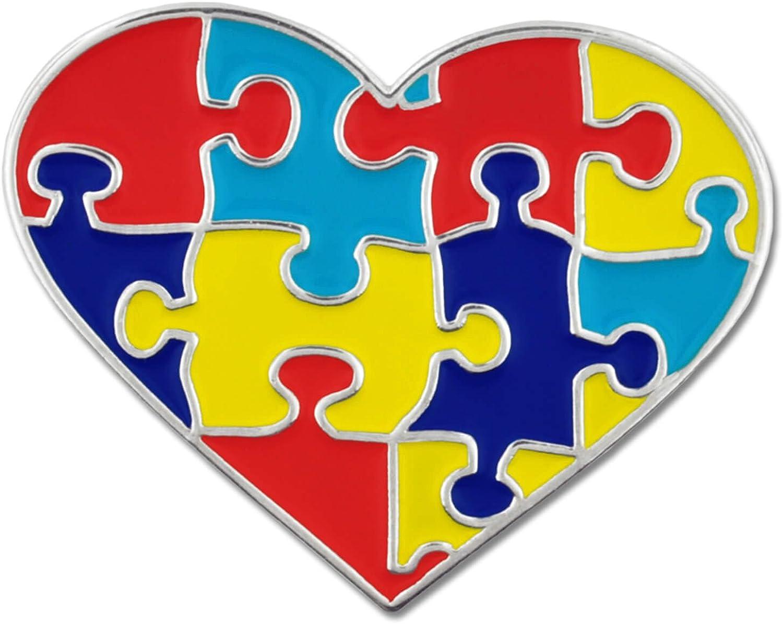 PinMart Autism Awareness Puzzle Piece and Hand Print Enamel Lapel Pin
