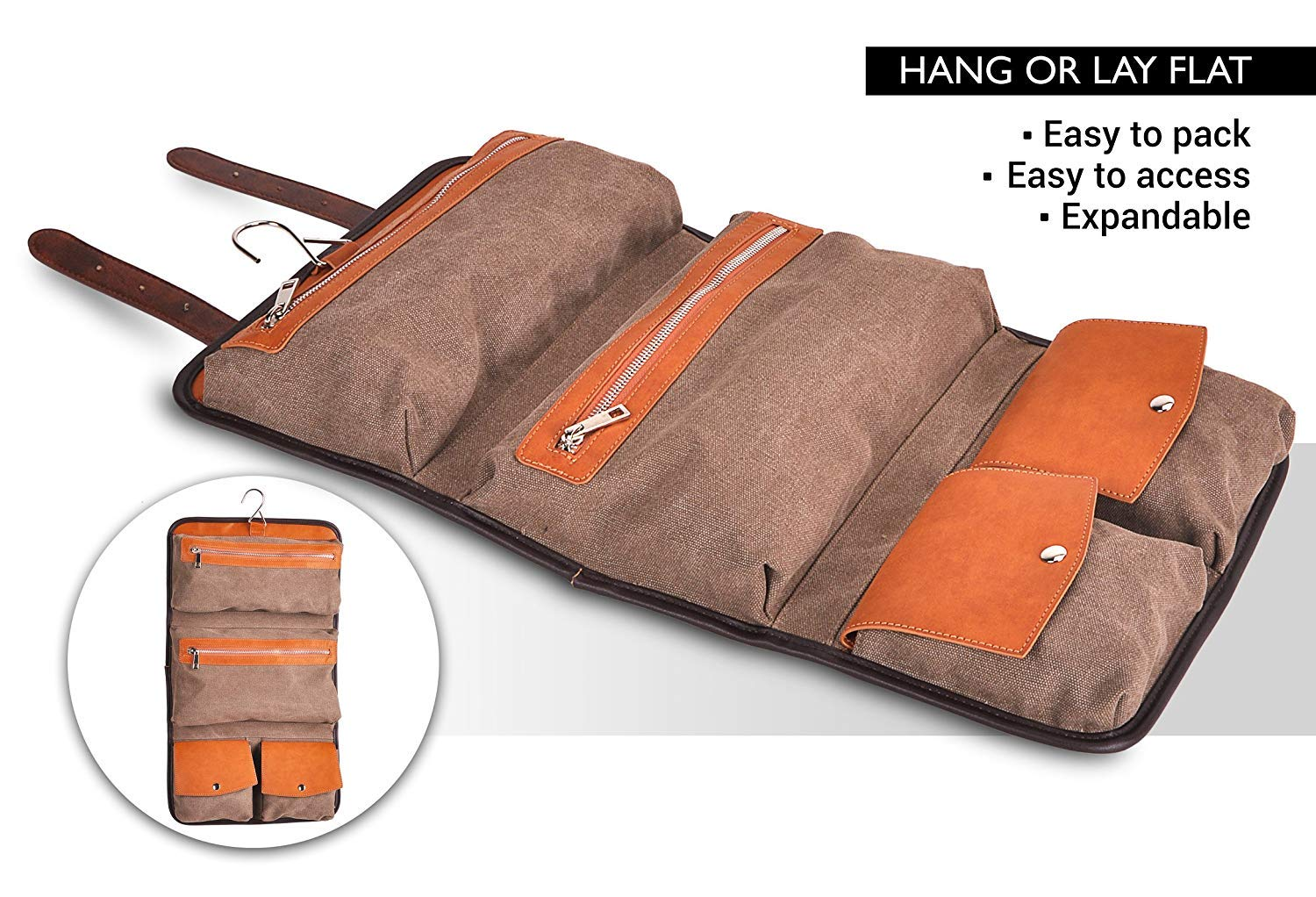 Vetelli Mens Hanging Toilet    Toiletry Bag - Dopp Kit, Wash Bag    Travel  Accessories Bag One Size Brown. V103 Best Christmas gifts 2018 547a0e4955
