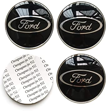 4PCS 65mm 2.56 Auto Car Sticker Wheel Center Hub Cap Logo Aluminium fit for Ford (Black)