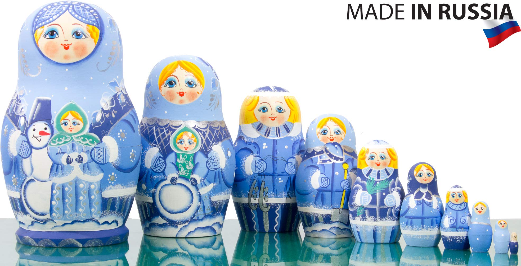Russian Nesting Doll - Kirov - VJATKA - Hand Painted in Russia - Big Size - Wooden Decoration Gift Doll - Matryoshka Babushka (Style B, 8.25`` (10 Dolls in 1))