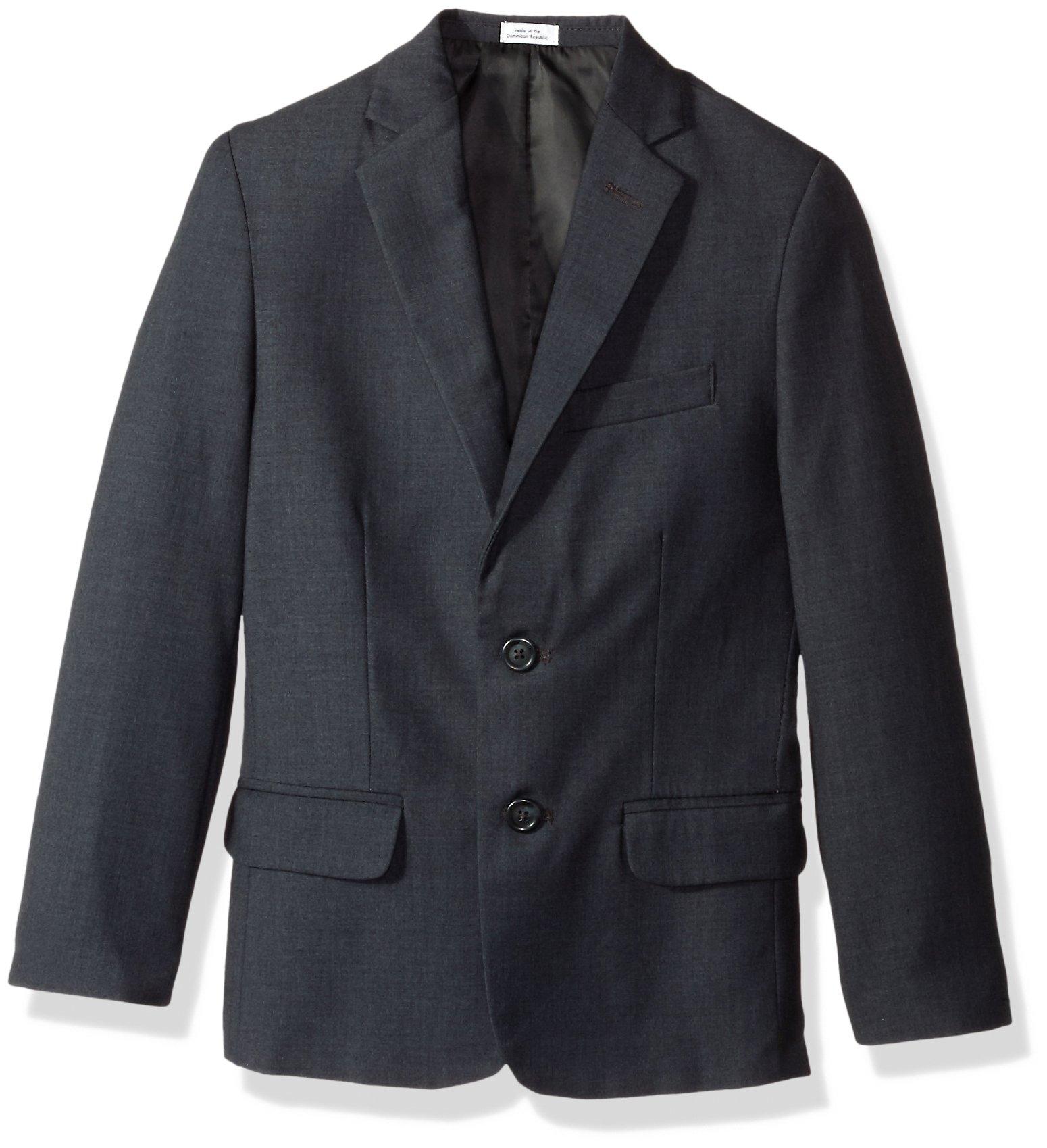 Calvin Klein Dress Up Big Boys' Fine Line Twill Jacket, Dark Charcoal Heather Grey, 20