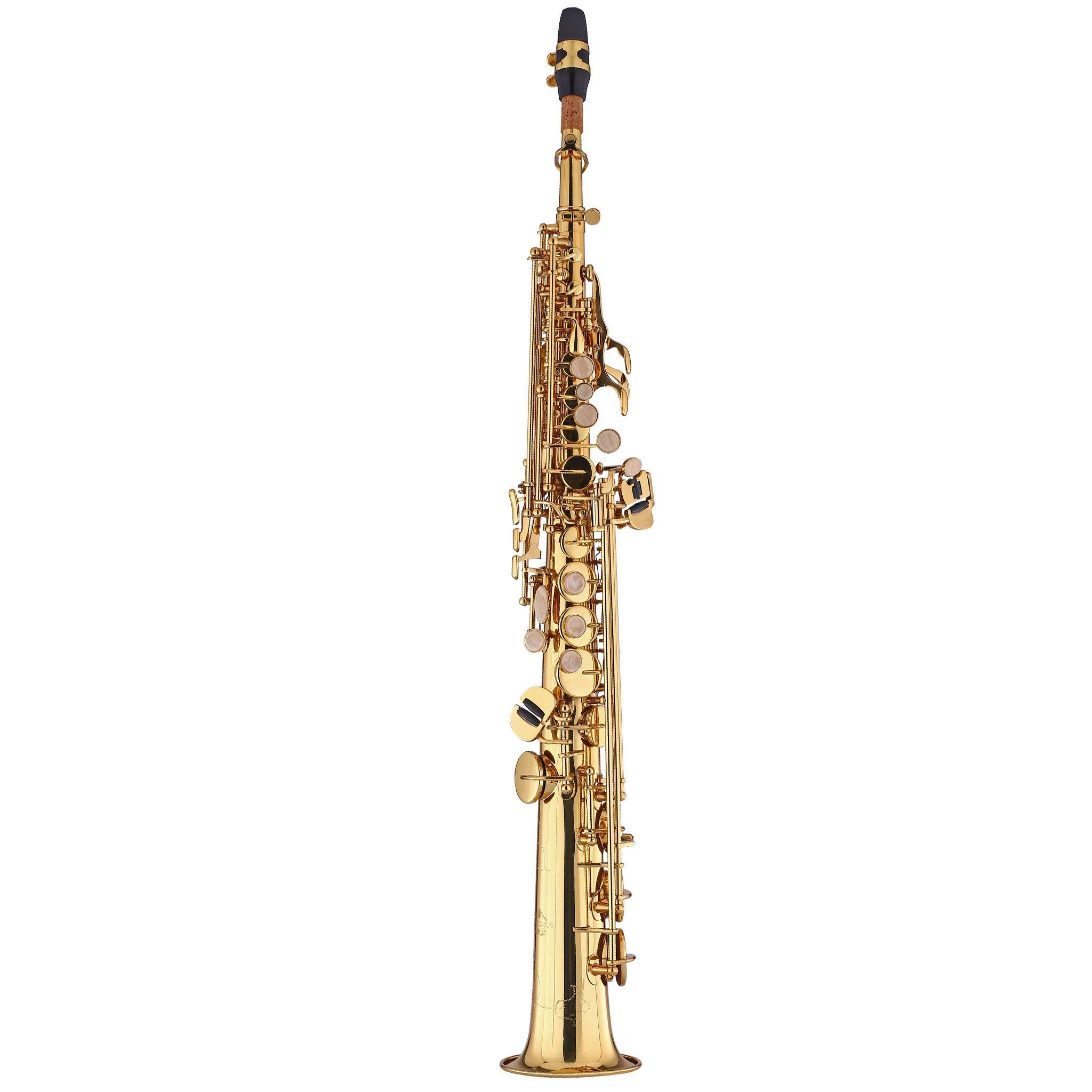 Kaizer Soprano Saxophone Straight B Flat Bb Gold Lacquer SSAX-1000LQ