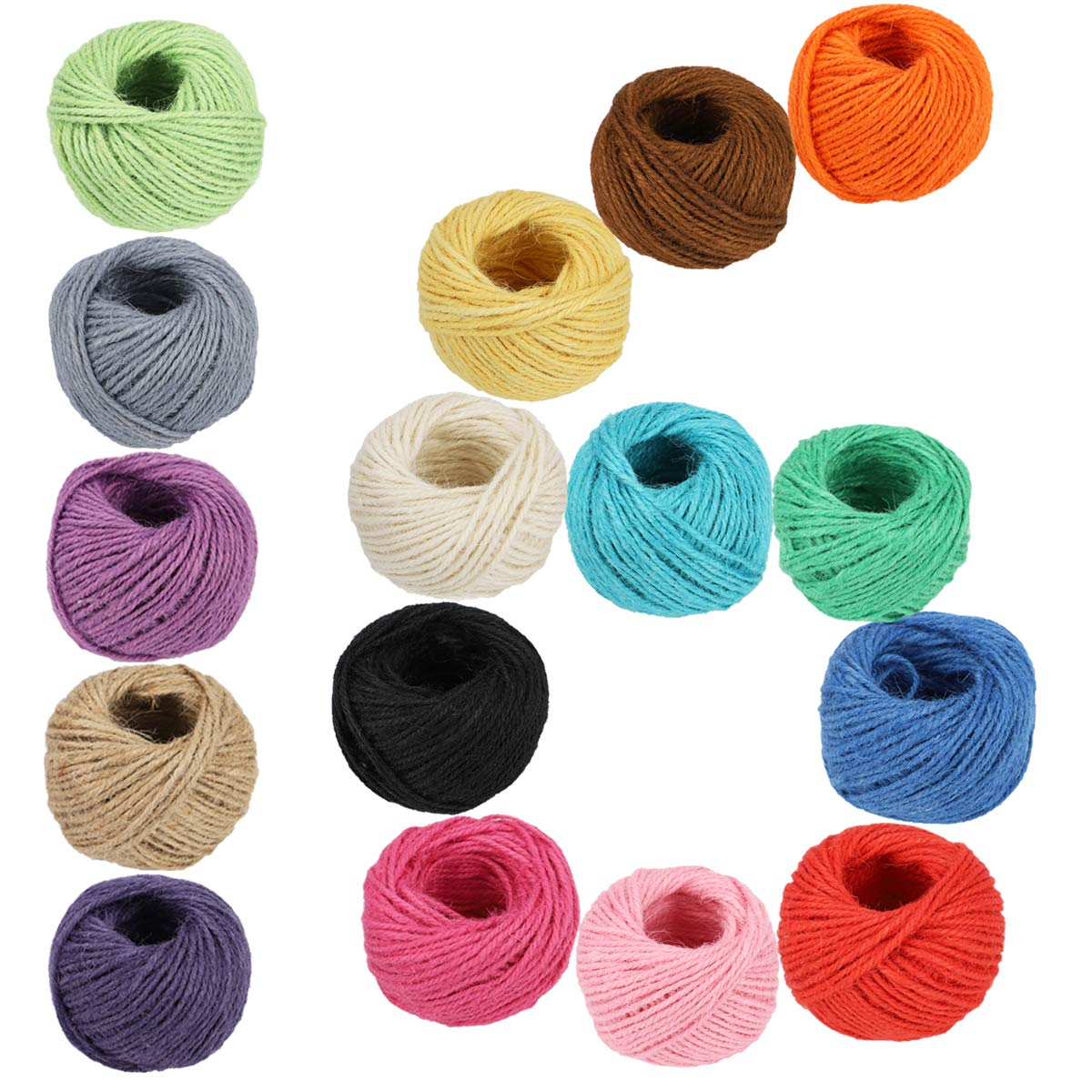 1312 Feet Jute Twine 16 Roll Strong Cord Thick Rope String for DIY Art Craft Gift Wrapping Home Garden Deco (16 Colors) by McFanBe