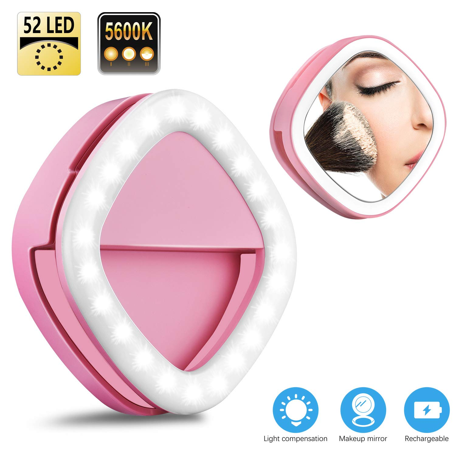 Solarxia Clip-on Selfie Ring light Rechargeable LED Flash Lamp Clip Selfie Fill Light with Makeup Mirror for iPhone Camera iPad Laptop Photography Video Lighting (White) KD-100P