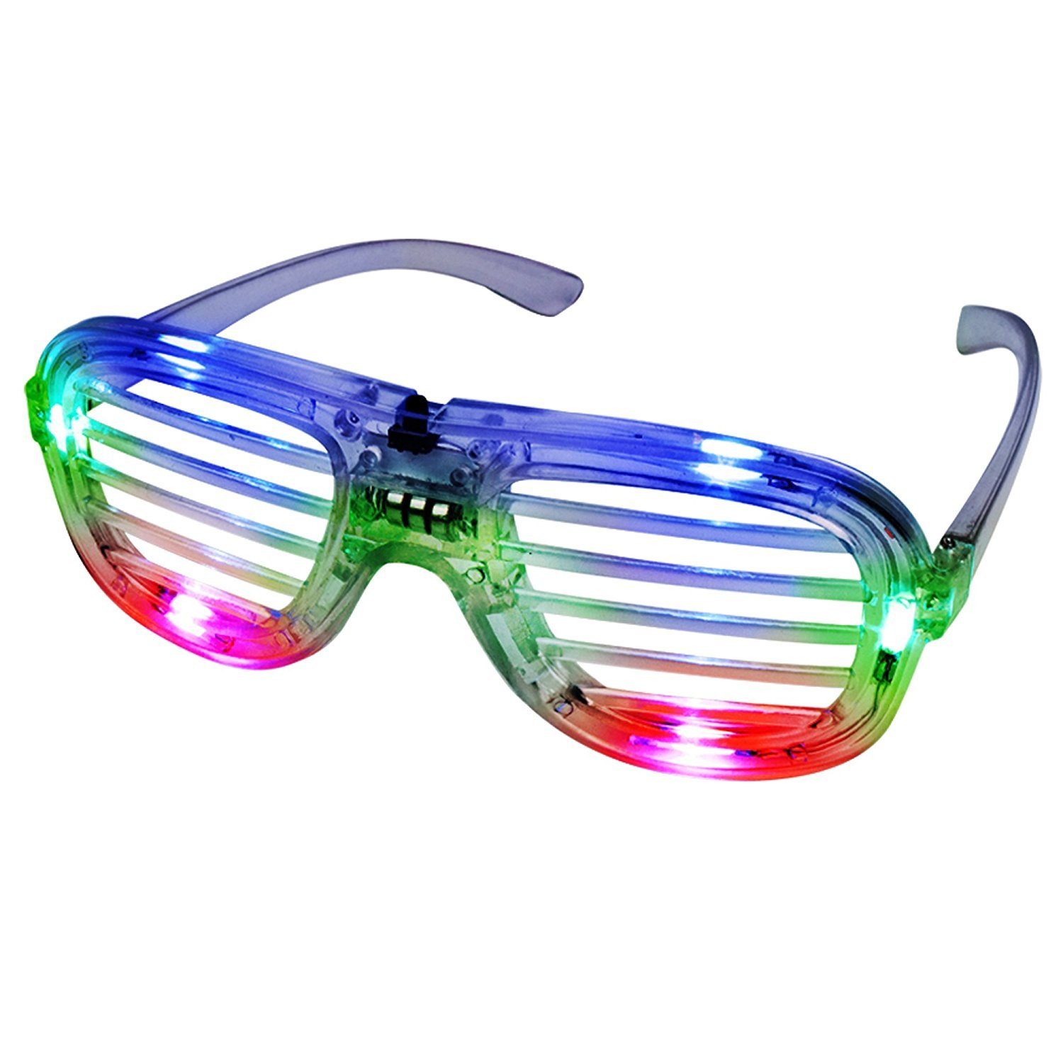 Fun Central I460 4 Packs Multicolor LED Light Up Slotted Shades LED Slotted Shades Glow in The Dark Slotted Shades Flashing Glasses Glow in The Dark Glasses LED Shutter Shades