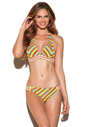 6d8e6b487a Image Unavailable. Image not available for. Color: Lucky Brand Women's  Santiago Sunrise Banded Halter Bikini Top ...