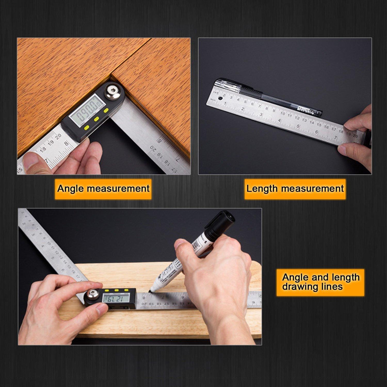 Cikuso 400mm 2 in1 Digital Angle Finder Meter Protractor Goniometer Ruler 360 Degree Measurer
