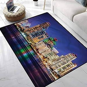 Area Rug USA,Colorful Skyline of San Diego Kids Dorm Floor Mat with No-Slip pad 5 x 7 Feet