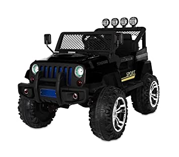 LT 863 Coche eléctrico para niños JEEP SPORT 4 ruedas asientos de cuero (Negro)