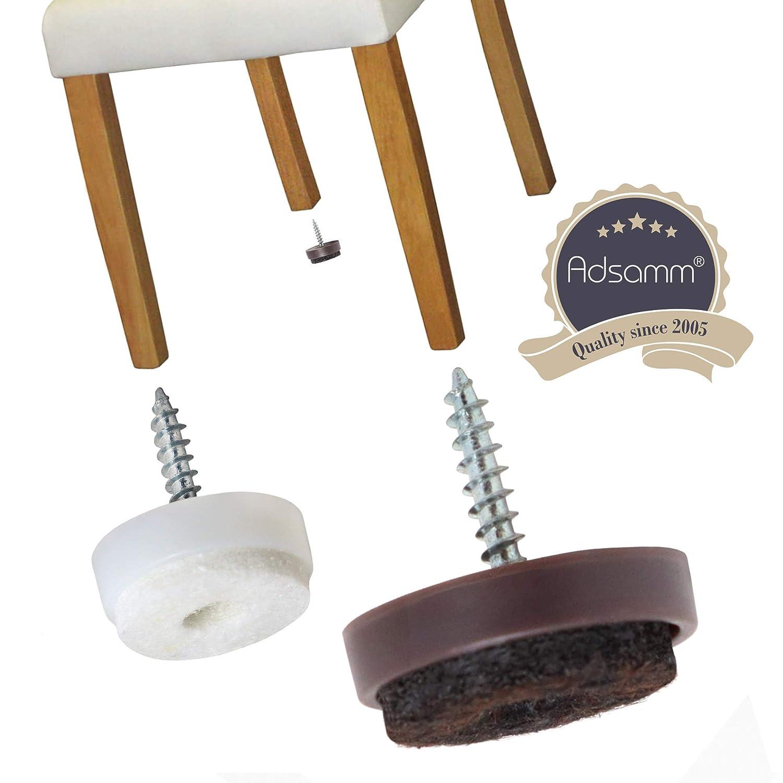tondi 4 x Scivoli in feltro con vite piedini mobili con vite di premio qualit/à di Adsamm/® /Ø 40 mm bianco