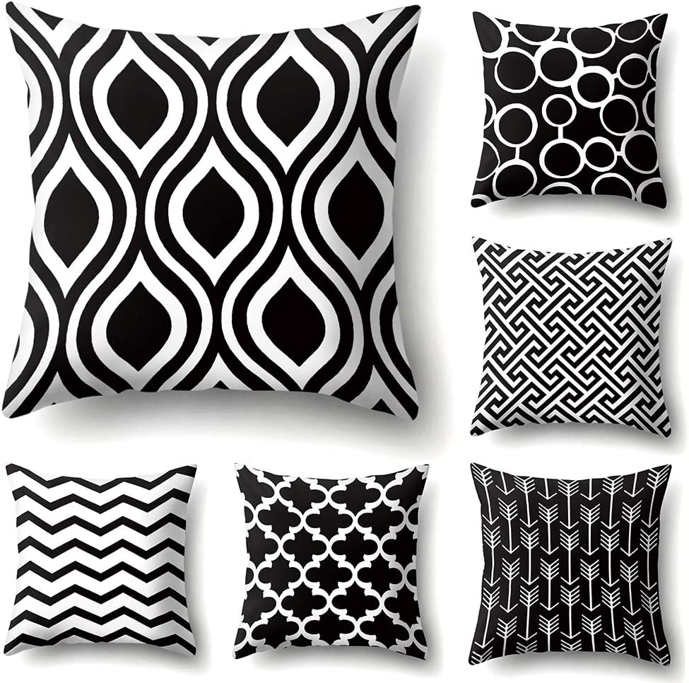 JOTOM - Juego de 6 fundas de cojín cuadrada de lino y algodón, para decoración de sofá o habitación, 45 x 45 cm, Patrón blanco y negro., 45 x 45 Centimeters
