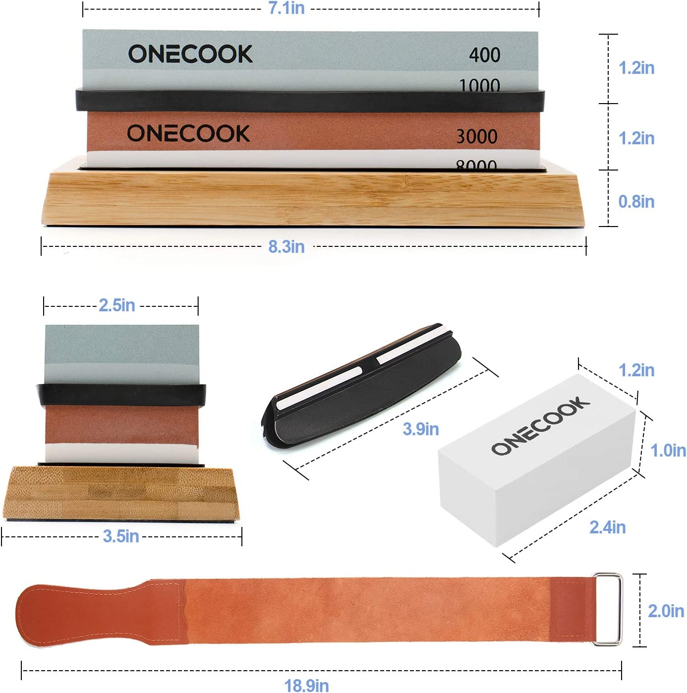 Knife Sharpening Stone Set 400/1000 3000/8000, ONECOOK 4 Side Grit Whetstone Sharpening Kit with Non-slip Bamboo Base, Flattening Stone, Angle Guide and Leather Strop - -