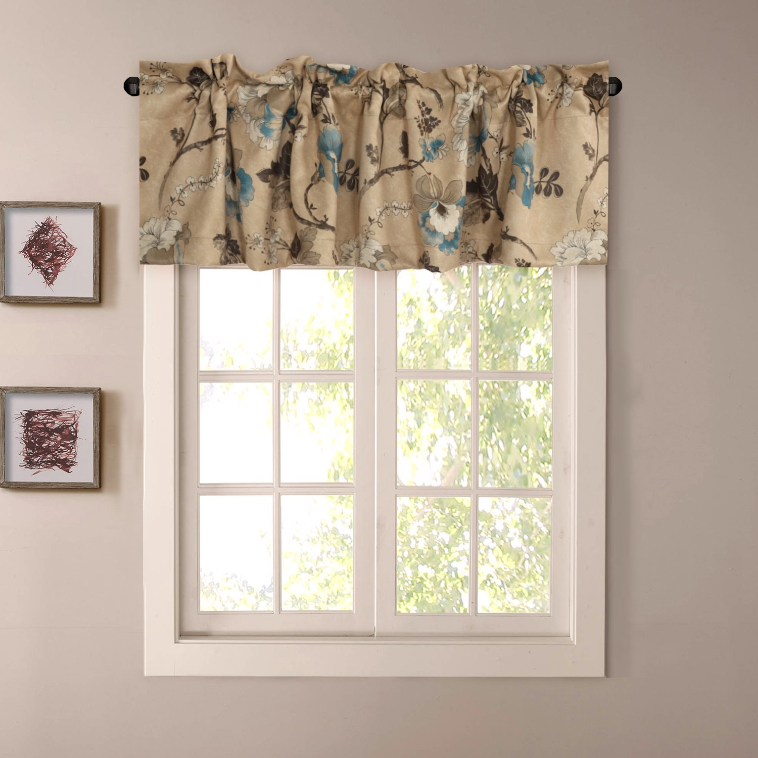 H versailtex window valance rustic style ultra soft material suits for kitchen bath laundry bedroom living room rod pocket 58 by 15 inch vintage floral