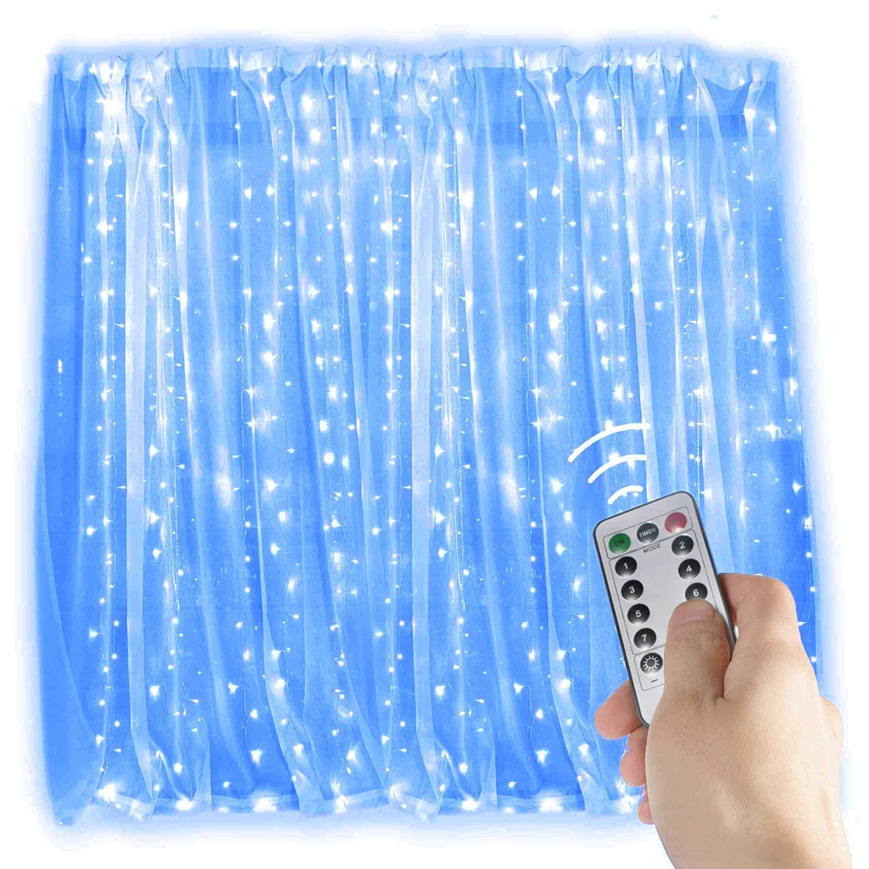 300LED Lichtervorhang Lichterkette, KINGCOO 3mx3m Romantisch Fenster Eiszapfen Dekorative Licht USB Kupferdraht Schnur Lichter Mit 8 Modi für Innen Party Hochzeit Decoration Garden Weihnachtsbeleuchtung(Weiß)