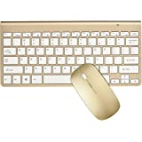 Keyboard & Mouse Combos, URCO Ergonomic Wireless 2.4G Ultra Slim Keyboard and Portable Mouse for Gaming and Working (Gold)
