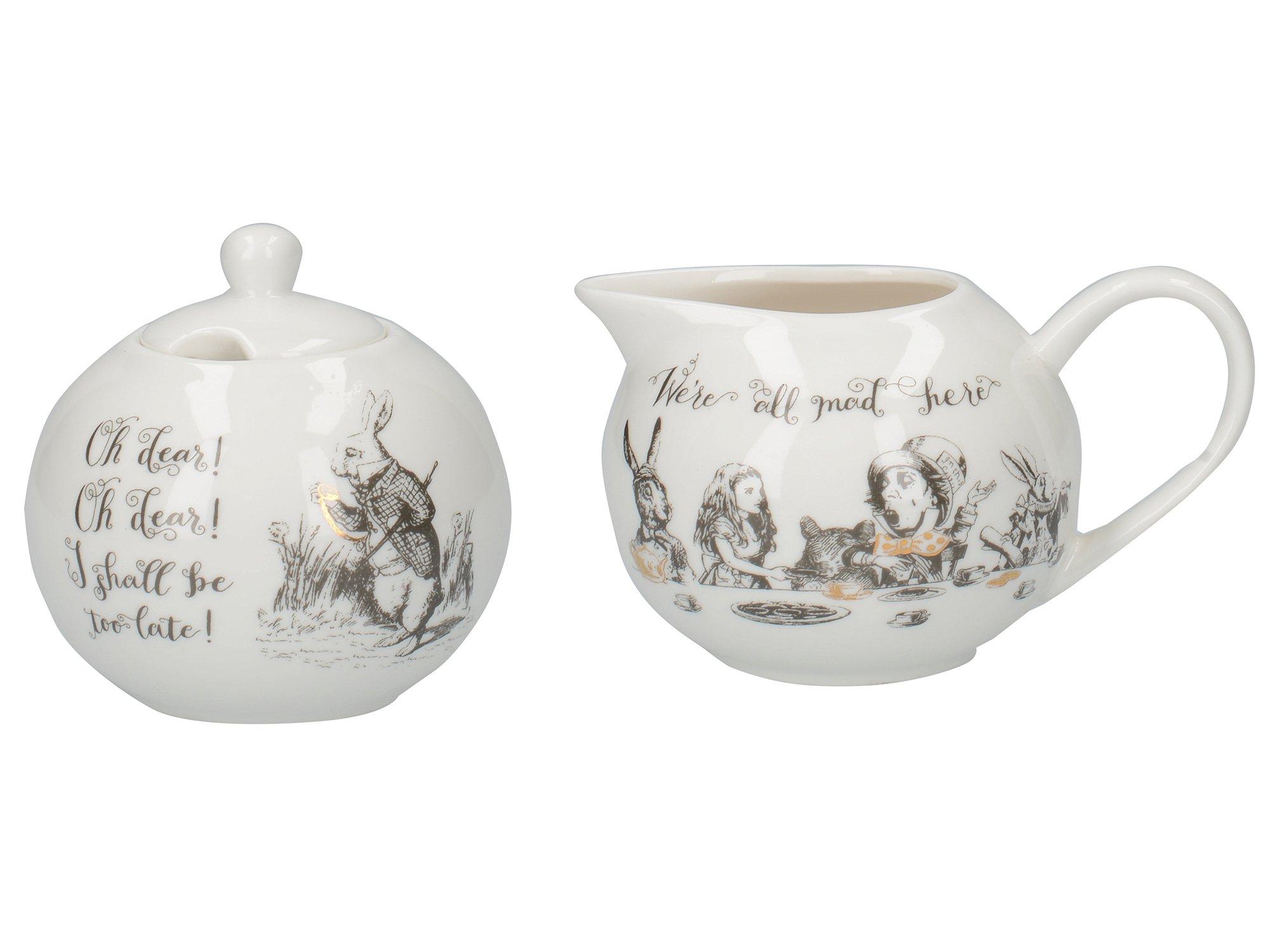 Victoria and Albert Alice in Wonderland Porcelain Sugar Bowl and Creamer Set by CreativeTops