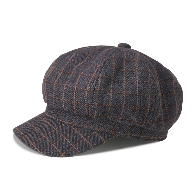 Cherryi Autumn Winter Hat Newsboy Caps Women Men Plaid Knitted Octagonal Hats Vintage Painter Hat,Brown
