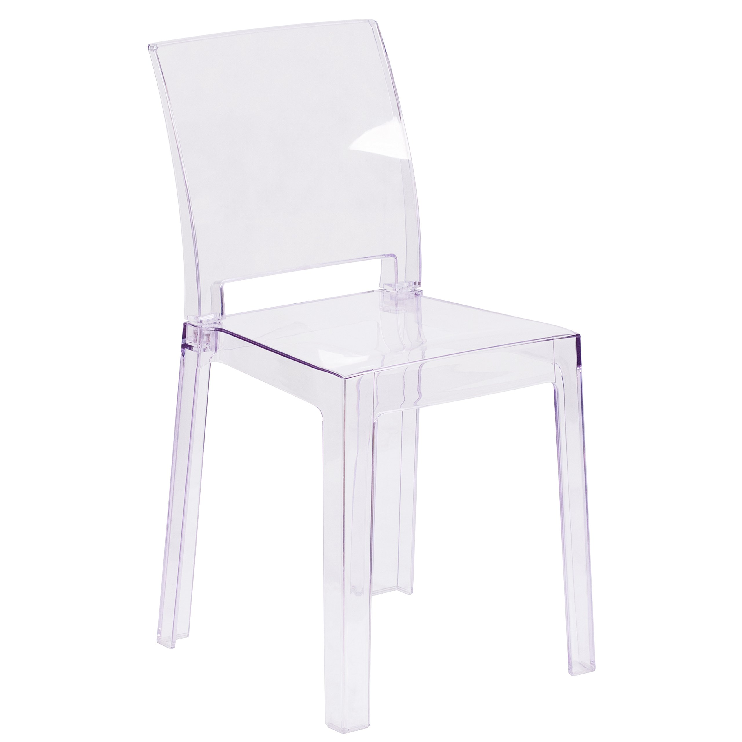 Flash Furniture Ghost Chair with Square Back in Transparent Crystal by Flash Furniture