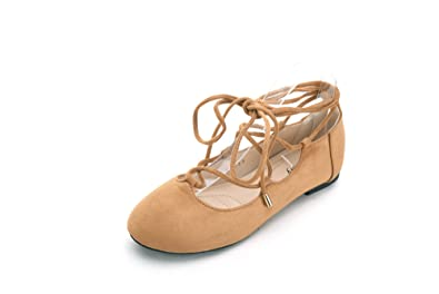 c5210a18d67a Mila Lady Womens Faux Suede Pointed Toe Ankle Strap Lace up Flats Shoes