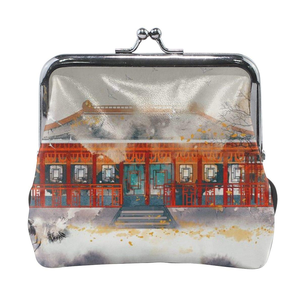 Classical Oriental Landscape Painting Red-crowned Cranes Vintage Pouch Girl Kiss-lock Change Purse Wallets Buckle Leather Coin Purses Key Woman Printed