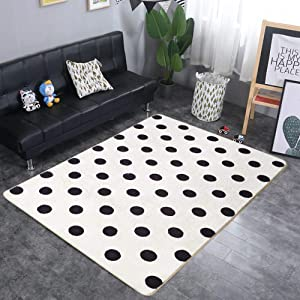 "USTIDE Kids Carpet Soft Home Decor Rug Black and White Polka Dots Kids Rugs for Girls Rooms 3'2""x5' for Bedroom/Living Room Children Rugs for Baby Crawling Nursery"