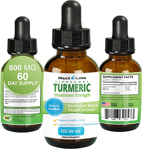 Turmeric Liquid – Highest Potency 800mg – Liposomal Tumeric Drops with BioPerine Black Pepper Extract – Antioxidant, Pain Relief, Joint Support – Turmeric Root Curcumin – Non-GMO 2oz