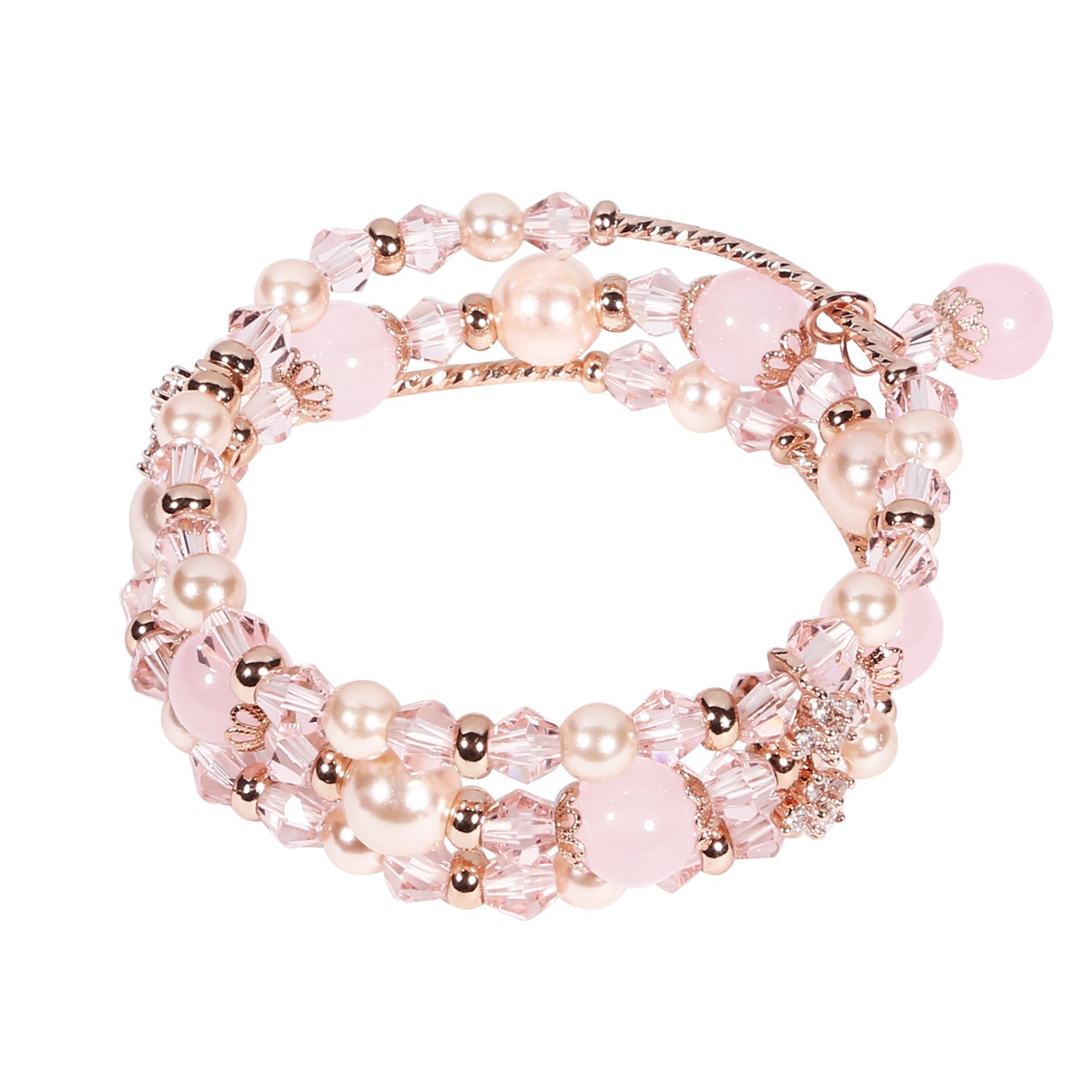 Tomazon Fashion Handmade Faux Pearl Beaded Crystals Stretch Elastic Wrap Around Wrist Bracelet Bangles for Women Girls (3 Rows - Pink)