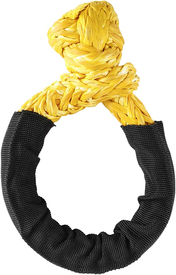 Yellow NovelBee 2 Pack of Soft Shackles,UHWMPE 12 Strand Synthetic Rope,Inner core Dia:6mm;Bow Width:100mm