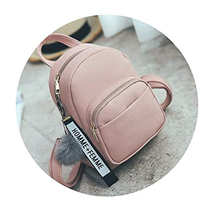 8354ff9593af Image Unavailable. Image not available for. Color  Female Soft PU Leather  Mini Backpacks Students Fuzzy Ball Pendant Shoulder Bags Women Fashion ...