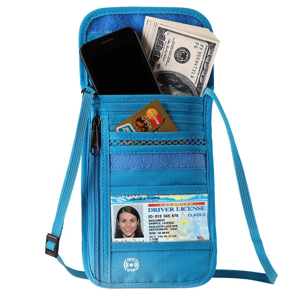 Travel Passport Wallet Stash Hidden Water Resistant Pouch RFID Blocking Wallet for Security Concealed Pocket Pouch Neck Passport Holder Defway 190497371292
