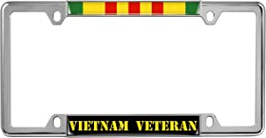 Vietnam Veteran - Domed Custom-Made Personalized Narrow (Thin) Top 4 Hole Metal Car License Plate Frame with Free caps - Chrome